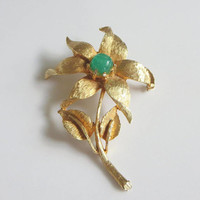 Flower Brooch, Brushed Gold Six Petal Flower, Faux Jade Lucite Stone Center, Vintage, Unusual
