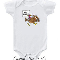 Eat Beef Funny Thanksgiving Onesuit Bodysuit  for the Baby