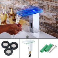 Chrome LED Bathroom Sink Faucet Light Color Change Automatic Bathroom Basin Faucet Waterfall Spout Sensor Square Sink Mixer Taps