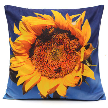Colorful 3D Flower Series Short Plush Throw Pillow Case Home Sofa Car Cushion Cover