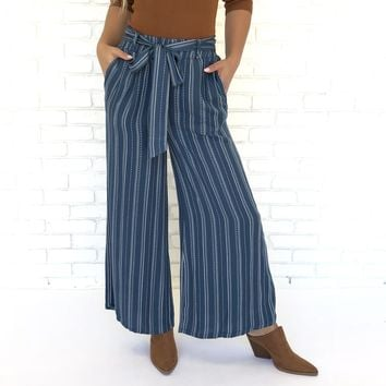 Ocean Blue Wide Leg Stripe Pants