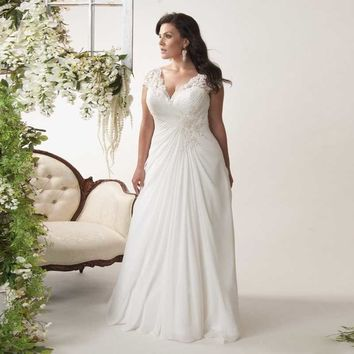 Alice 2017 Cheap Chiffon Wedding Dress Plus Size Bead Pearls Pleated A-line with Lace Cap Sleeves Brides Gown Vestido de noiva