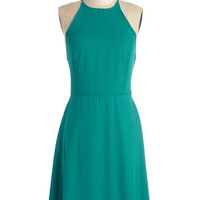 ModCloth Mid-length Spaghetti Straps A-line Refreshing Finesse Dress in Teal