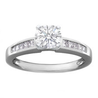 Engagement Ring - Diamond Engagement Ring Setting with Channel-Set Princess-Cut Diamonds 0.50 tcw. In 14K White Gold - ES209WG