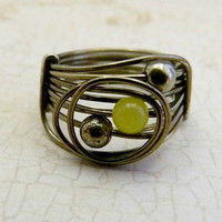 Pyrite and Lemon Jade Wire Wrapped Ring - Signature Design - Gunmetal & Gemstones Collection
