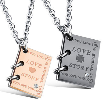 "Popular Creative ""Love Letter"" Book Pendants Couple necklace jewelry Stainless Steel Boutique Gift for boyfriend & girlfriend"