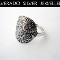 Sterling Silver 925 Phaistos Disc Ancient Greek Minoan Ring FREE SHIPPING WORLDWIDE