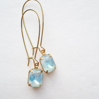 Vintage Earrings Glass Dangles Aqua/Opal Accessories Gift Idea For Her Stocking Stuffer Under 15