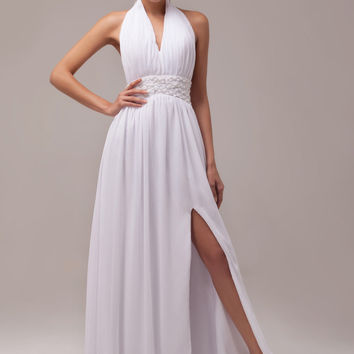 White Halter Deep V-Neck  Front Slit Maxi Evening Dress