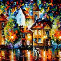"""Luxembourg Night — PALETTE KNIFE Oil Painting On Canvas By Leonid Afremov - Size 30"""" x 40"""" from afremov art"""