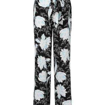 Black Oriental Print Wide Leg Trousers