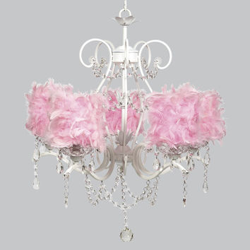 White 5 Light Grace Chandelier with Pink Feather Drum Shades