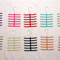 Three Velvet Hanger Flocked Non-slip Scarf Tie Belt Velvet Hanger Metal Hook - 3 Pack - 12 Bars - Different Colors Available