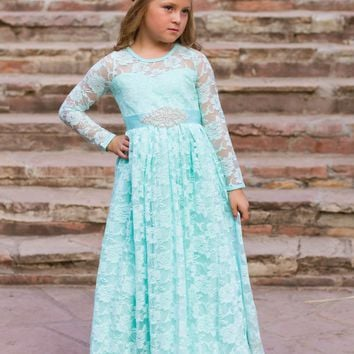 Josephine Dress and Sash Mint Long Sleeve Lace Open Back Bow Lace Gown Dress