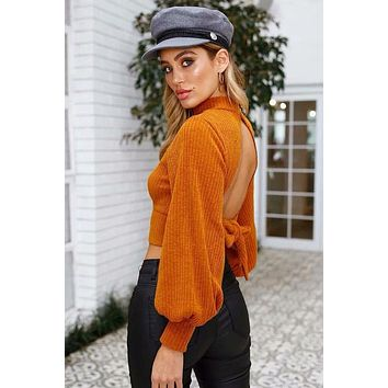 BKLD Women Sexy Open Back Sweater Turtleneck Long Sleeve Sweaters Lace Up Knitted Pullovers Casual Knitwear Winter Jumper Tops