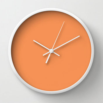 Wall Clock Tangerine Orange Pantone 2015 Office Decor Dorm Room Wall Art Nursery Gift