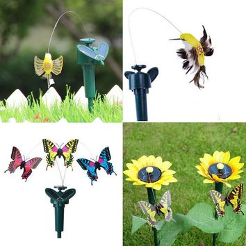 Vibration Solar Power Dancing Flying Fluttering Butterflies Garden Decoration Electric Solar Two Power Models Free Shipping