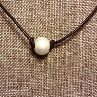 Leather and Single Pearl 11-12 mm Necklace Big Freshwater Pearl Choker