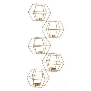 Zuo Set Of 5 Wall Candle Holder Gold