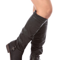 Black Faux Leather Buckled Knee High Riding Boots