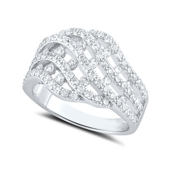 Sterling Silver Woven Braid Simulated Diamond Ring