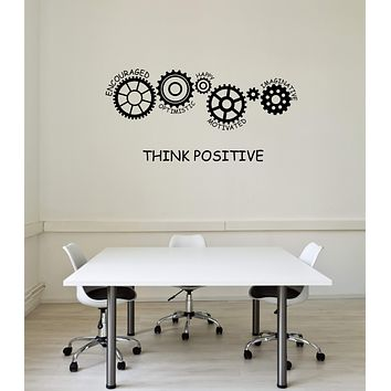 Vinyl Wall Decal Think Positive Office Space Art Gears Words Interior Stickers Mural (ig5832)