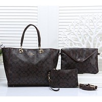 COACH Women Shopping Leather Tote Handbag Shoulder Bag Set Three Piece