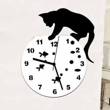 Naughty Cat Acrylic Clock Wall Clock Modern Design Home Decor Watch Wall Sticker