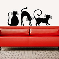 Wall Decals Cat Kitten Animal Vinyl Decal Sticker Home Interior Design Art Mural Nursery Home Bedroom Decor C544