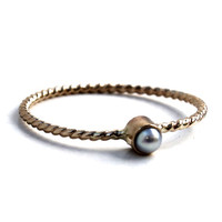 Gold Pearl Stacking Ring