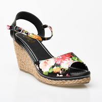 Black Floral Peep Toe Bypass Espadrille Wedge Sandals