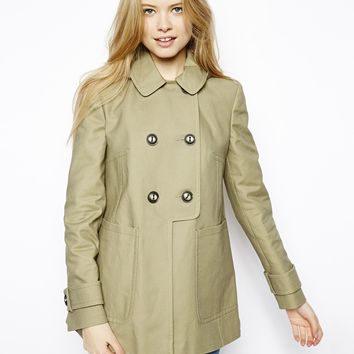 ASOS Textured Swing Duffle Coat - Olive