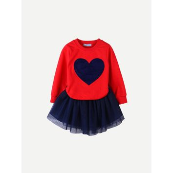 Toddler Girls Heart Print Tee With Mesh Skirt
