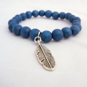 "BLUE Wooden Bead Bracelet ~ 8 mm Beads ~ 1"" Antiqued Silver FEATHER Charm ~ Mint Pink Grey Turquoise Salmon available ~Stretch Custom Sizing"