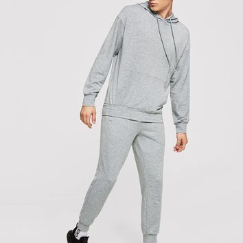 Men Drawstring Hoodie Top & Pants Set