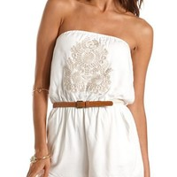 Belted Embroidered Tube Romper: Charlotte Russe