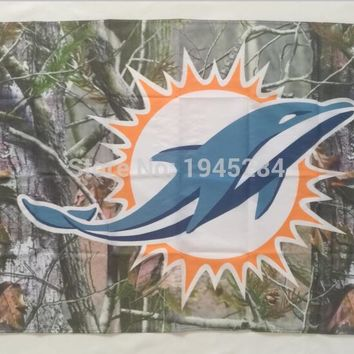 NFL Miami Dolphins Real Tree Camo Flag Banner New 3x5ft 90x150cm Polyester 9860, free shipping