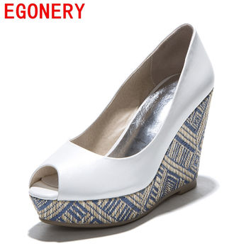 EGONERY shoes 2016 new spring summer fish peep toe women brand high heels platform pumps straw wedges sandals shoes woman pumps
