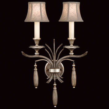 Fine Art Lamps 808650ST Villa Vista Two-Light Wall Sconce in Hand Painted Driftwood Finish On Metal with Silver Leafed Accents