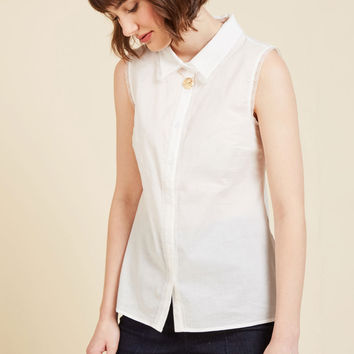Keep Up the Kindness Sleeveless Top in White | Mod Retro Vintage Short Sleeve Shirts | ModCloth.com