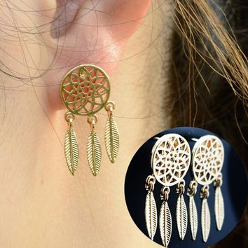ES944 Fashion Bohemia Nationality Indian Feather Dream Catcher Dreamcatcher Stud Earrings For Women Fine Jewelry One Direction