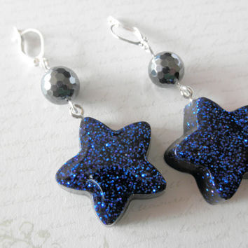 Hematite and Midnight Blue Sparkly Resin Star Earrings
