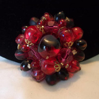 Germany Vintage Red Art Glass Bead Flower Brooch & Rhinestone Layered Gold Plate Pin 2""
