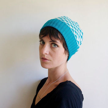 Triangle Knit Hat, Wool Slouchy Beanie, Winter Hat, Teal & White with Mustard Pom Pom
