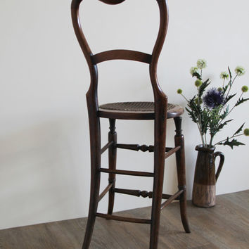 Child's Correction Chair - Antique Victorian Mahogany Caned Seat Balloon Back Child's Correction Chair