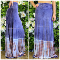 Just Beachin' Indigo & Pink Tie Dye Maxi Skirt