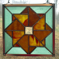 Handmade Stained Glass Double Pinwheel Appalachian Quilt Square Pattern with Mixed Opalescent and Stipple Glasses