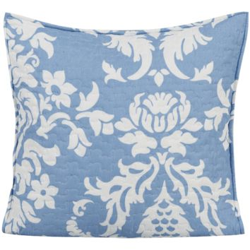 """DaDa Bedding Set of Two Enchanted Breeze Floral Blue & White Victorian Elegant Quilted Pillow Cushion Cover Square Accent Case Pair - 18"""" x 18"""" - 2-Pieces"""