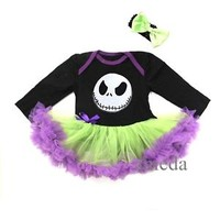 Halloween Baby Nightmare Before Christmas Jack Purple Green Bodysuit Pettiskirt