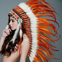 Native American Inspired Indian Medium Headdress / Warbonnet Orange Feathers (MH003), 36in